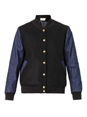 Teddy bi-colour bomber jacket