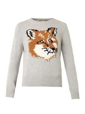 Fox-intarsia wool sweater