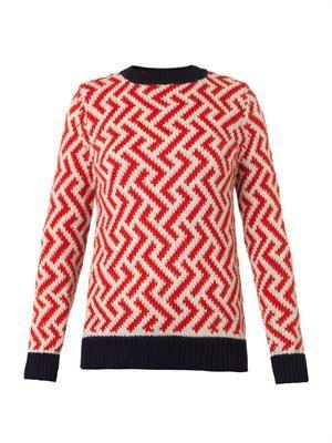 Zigzag-intarsia alpaca sweater