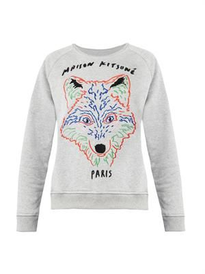 Embroidered-fox sweatshirt