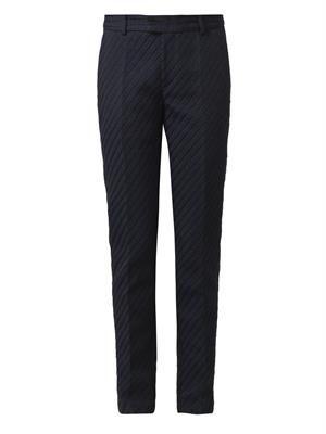 Lou striped-jacquard trousers