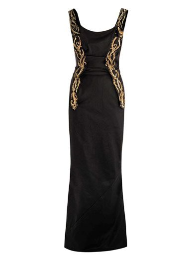 Vivienne Westwood Gold Label Embroidery panel detail fluted gown