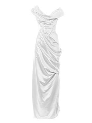 Double satin full length draped gown