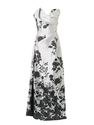 Trinket floral-jacquard gown
