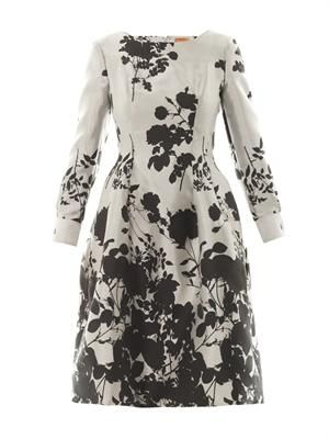 Joan floral-jacquard dress