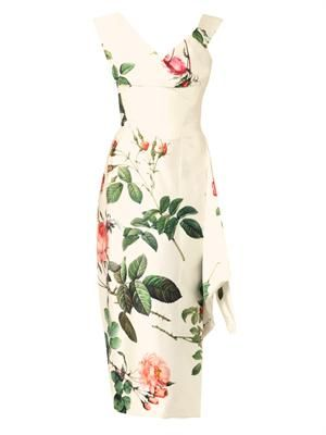 Prestige floral-print silk satin dress