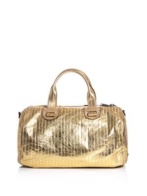 Metallic leather duffle bag