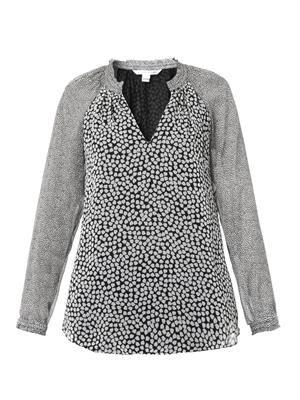 V-neck contrast-print blouse