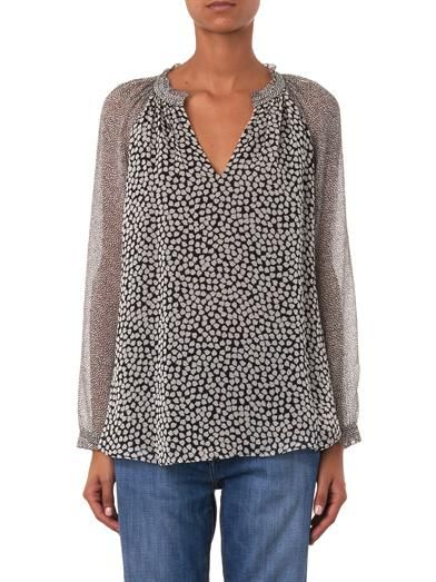 Diane Von Furstenberg V-neck contrast-print blouse