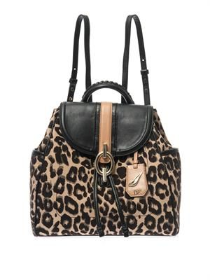 Sutra leopard-jacquard backpack
