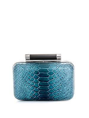 Small Tonda printed python clutch