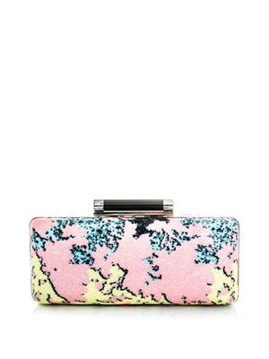Large Tonda printed sequin clutch