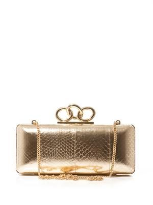 Sutra embossed-leather box clutch