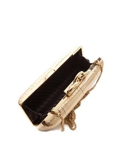 Diane Von Furstenberg Sutra embossed-leather box clutch