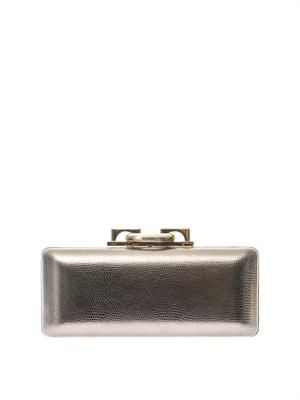 Sutra embossed-leather clutch