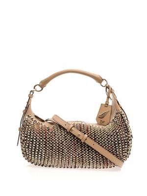 Sutra knit leather hobo bag