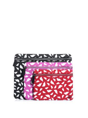 Lips print cosmetics bag trio