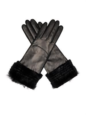 Fur and leather gloves