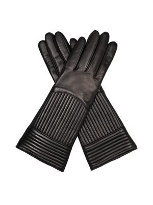 Rail quilted leather gloves