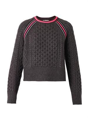 Contrast-stripe Aran-knit sweater