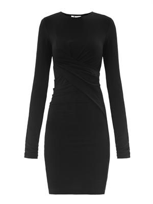 Twisted stretch mesh jersey dress