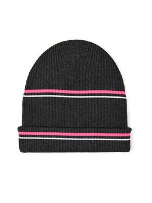 Striped ribbed-knit beanie