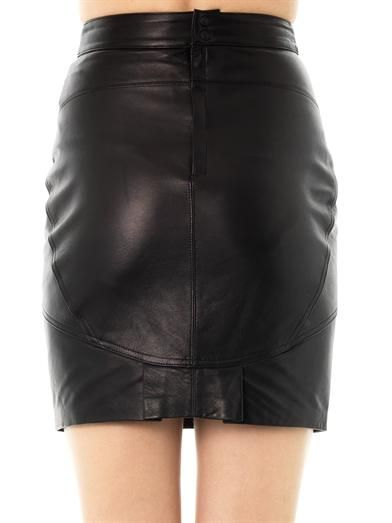 T by Alexander Wang Kick-pleat leather skirt