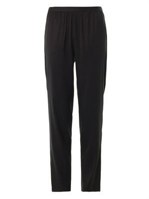 Silk-twill tapered trousers