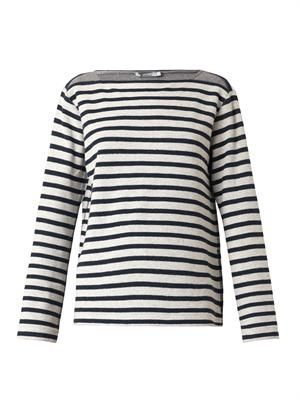 Striped French-terry sweatshirt
