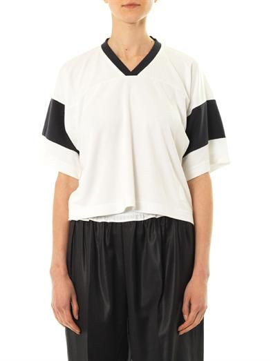 T by Alexander Wang Cropped football T-shirt