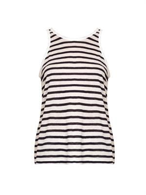 Striped scoop-back tank top