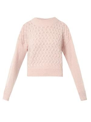 Basket-knit cropped sweater
