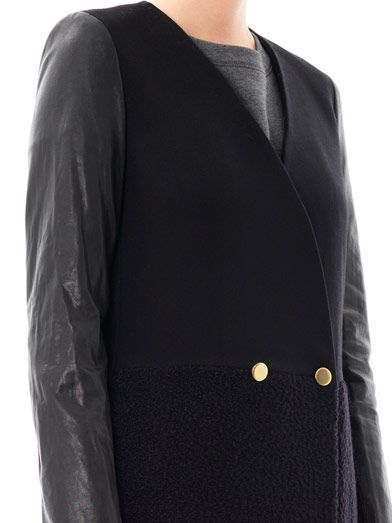Dkny Leather-sleeve wool coat