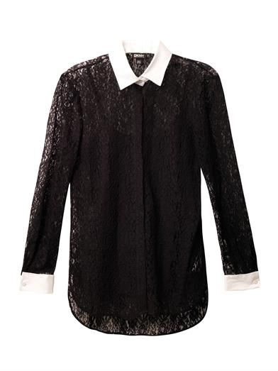 Dkny Contrast collar and cuff lace blouse