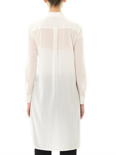 Dkny Step hem silk-blend blouse