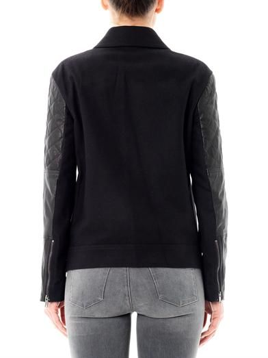 Dkny Quilted-leather sleeve moto jacket