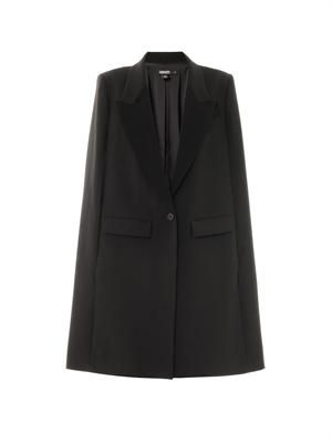 Peak-lapel single-breasted cape