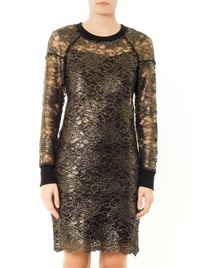 Dkny Metallic-lace sheer dress
