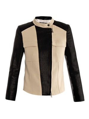 Moto colour-block cotton jacket