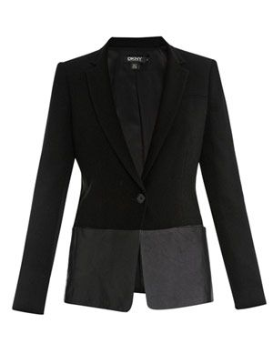 Leather-trimmed blazer