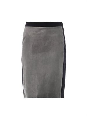 Leather panel pencil skirt