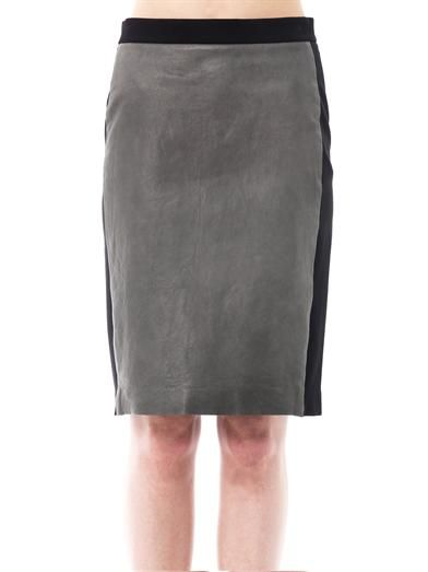 Dkny Leather panel pencil skirt