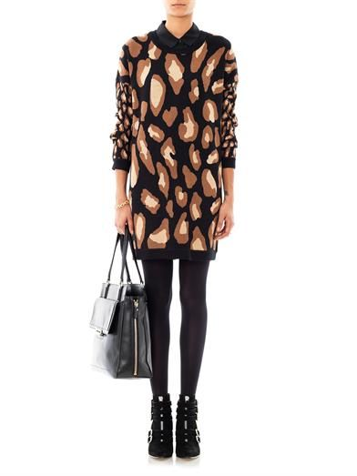Dkny Leopard intarsia-knit dress