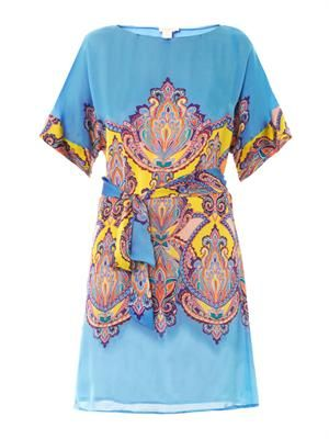 Hippie-print silk dress