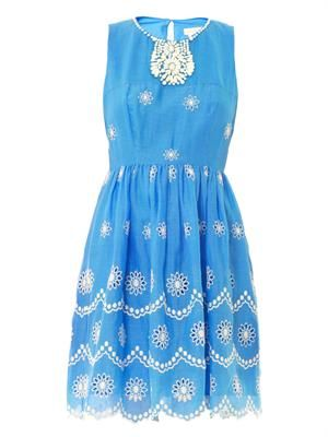 Daisy dots-embroidered dress
