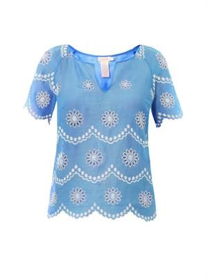 Daisy dots-embroidered top