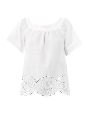 Embroidered square-neck top
