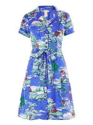 Prairie silk printed shirt dress