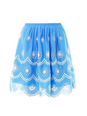 Daisy dots embroidered skirt