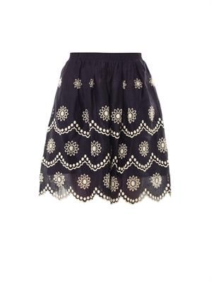 Daisy dots-embroidered skirt